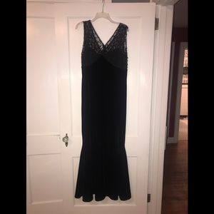 Black velvet and beaded evening gown
